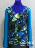 Блузка Femina м.17721 р.44-48(50-54) голубой,черный